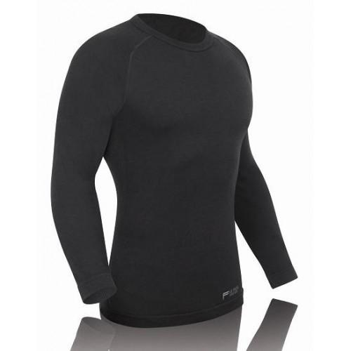 Juodi FUSE merino marškinėliai ilgomis rankovėmis vyrams