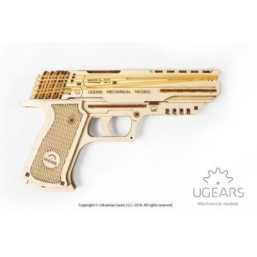 Medinis konstruktorius UGEARS Wolf-01 Handgun